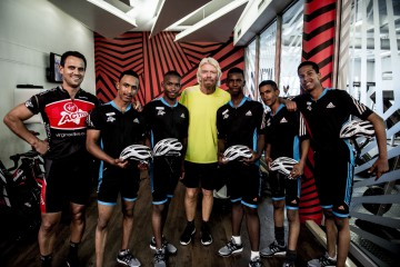 Sir Richard Branson with the VA Development Cycling Team