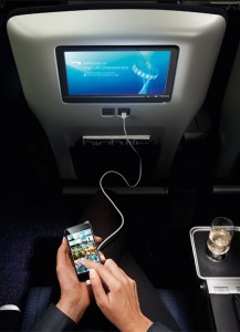A larger video touch-screen also provides two USB ports and a RCA port to allow you to link devices to the in-flight entertainment