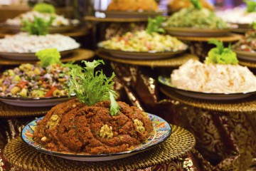 Variety of turkish turkish appetizers and salads in restaurant