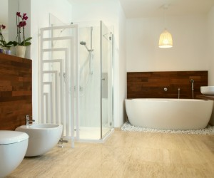 African style bathroom with exotic wood