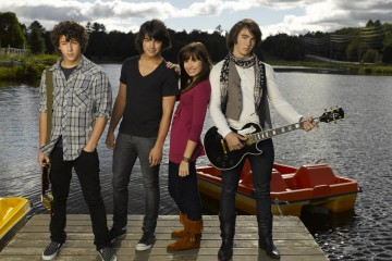 "CAMP ROCK - Nick Jonas as ""Nate,"" Joe Jonas as ""Shane Gray,"" Demi Lovato as ""Mitchie Lopez"" and Kevin Jonas as ""Jason"" star in ""Camp Rock"" airing on Disney Channel. (DISNEY CHANNEL/BOB A'MICO)"