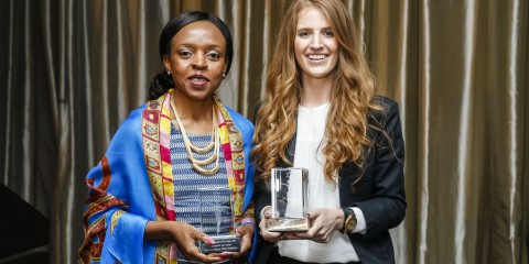 Winners Boitumelo Ntsoane (FAIRLADY Women of the Future Award) and Amy de Castro (Rising Star Award)