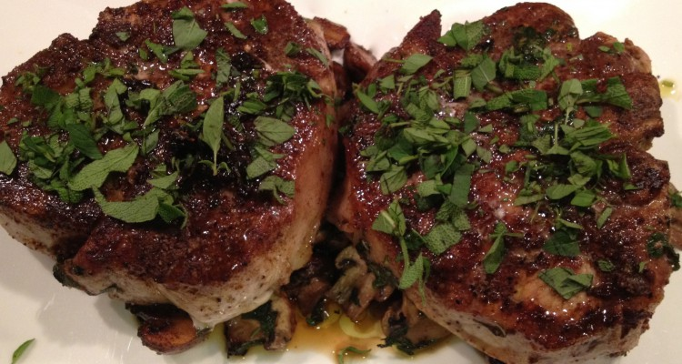 Cooked garam masala pork chops.