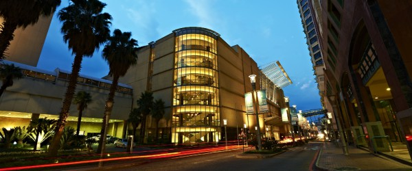 Pic 2 - The SCC building at dusk againt the Sandton Skyline