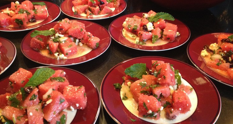 Watermelons Salad with Feta and Mint
