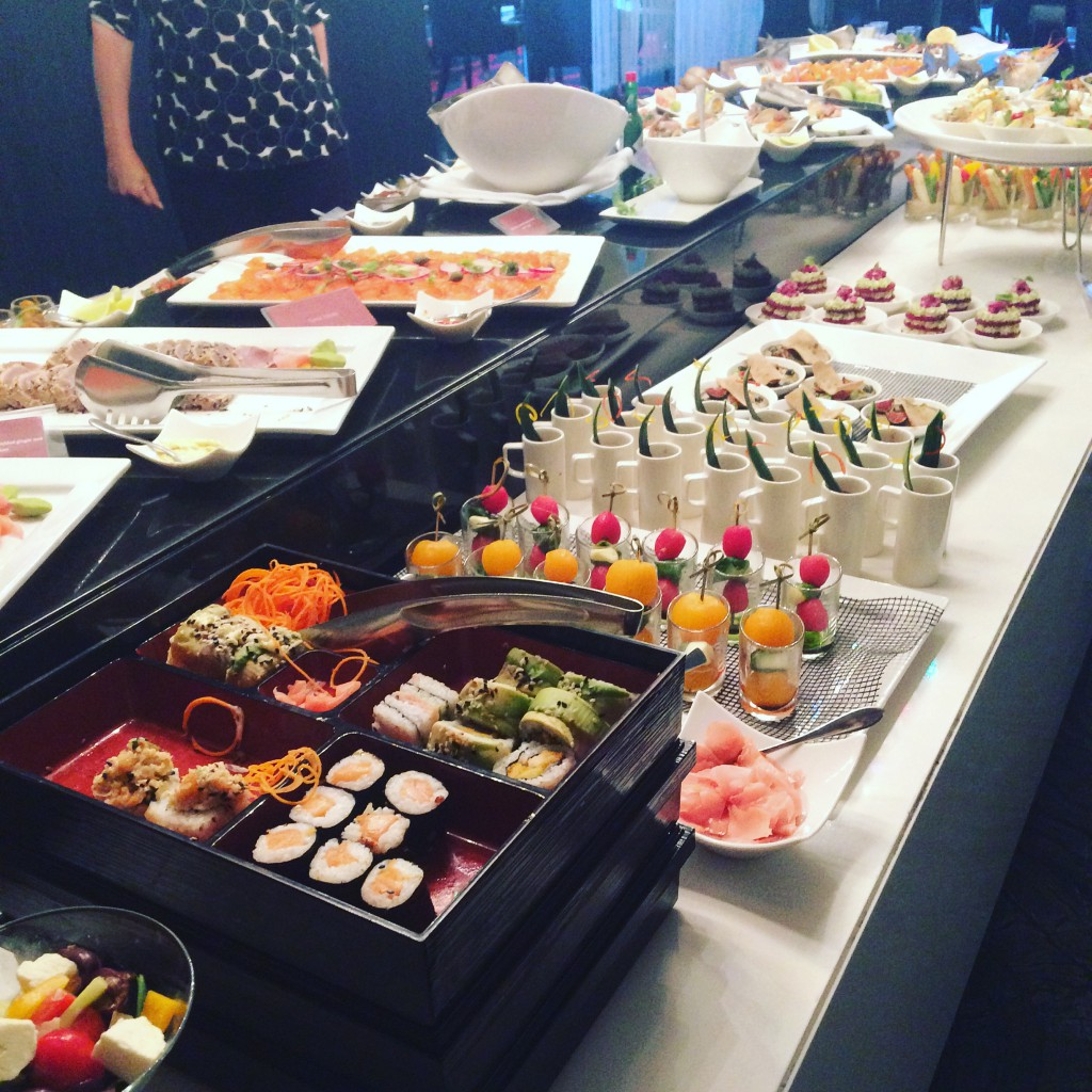 Several tapas-style dishes at the lunch buffet.