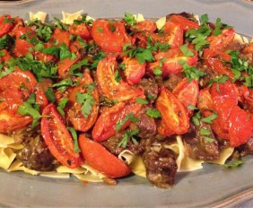 spicy beef ragout on a platter.