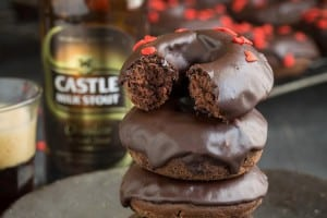 CHOCOLATE STOUT DOUGHNUTS WITH CHOCOLATE GLAZE