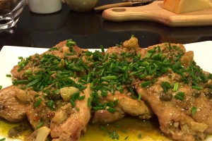 Garlic chicken with capers, anchovies and lemon.