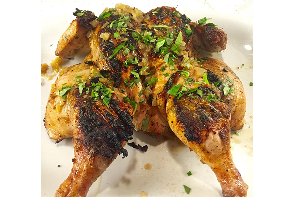 GRILLED CHICKEN WITH FRESH CURRY LEAVES & LEMON, ONION BUTTER SAUCE